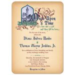 Unique medieval castle, jewel colors fairy tale once upon a time wedding invitation on simulated vintage parchment style of paper front