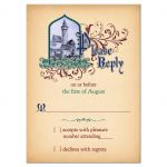 Unique medieval castle, jewel colors fairy tale wedding RSVP card on simulated vintage parchment style of paper front