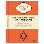 Library or classic book themed Bat Mitzvah save the date in orange, cream, and black