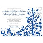 Elegant royal blue and white abstract floral wedding invitation front
