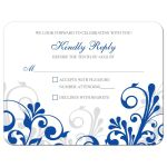Elegant royal blue and white abstract floral wedding RSVP card front