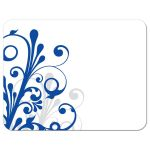 Elegant royal blue and white abstract floral wedding RSVP card back