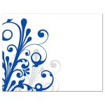Elegant royal blue and white abstract floral wedding save the date announcement back