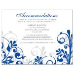 Elegant royal blue and white abstract floral wedding accommodations details card front
