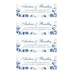 ​Elegant royal blue and white abstract floral wedding return address labels