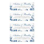 Elegant royal blue and white abstract floral wedding return address labels