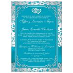 Tirquoise blue and silver grey floral wedding invitation with joined jewel hearts, ribbon, bow and photo template.