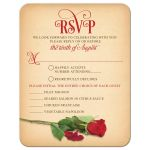 ​Red rose and vintage parchment paper fairy tale wedding meal choice rsvp card front