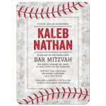 Baseball bar mitzvah invitations with urban grunge ball background