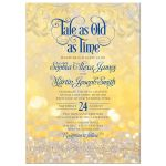 Royal blue gold beauty and the beast tale as old as time fairy tale wedding invitation front