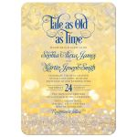 Royal blue gold beauty and the beast tale as old as time fairy tale wedding invitation​ front