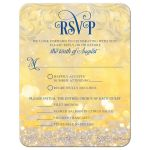 ​Royal blue gold magical ballroom fairy lights fairy tale wedding RSVP card front