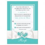 ​Tiffany Blue and White Wedding RSVP Enclosure Card Inserts with White Ribbon and Bow, Jewels, and Glitter.