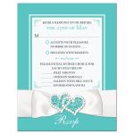 Robin's Egg Blue and White Wedding Response Enclosure Card Insert with White Ribbon and Bow, Jewels, and Glitter.