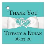 Robin's Egg Blue and White Wedding Favor Tag with PRINTED ON Ribbon, Bow, Jewels and Glitter Joined Hearts.