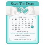 Tiffany Blue and White Mini Calendar Wedding Save the Date Card with White Ribbon, Bow, Jewels, Glitter, and photo template.