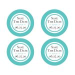 ​Tiffany Blue and White Wedding Save The Date Envelope Seals or wedding favor sticker with Ornate Scroll Decoration and modern black lettering.