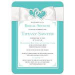 Tiffany Blue and White bridal shower or wedding shower Invitation with White Ribbon and Bow, Jewels, and Glitter.