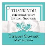 ​Personalized Tiffany Blue and White Bridal Shower or Wedding Shower Favor Tag with PRINTED ON Ribbon, Bow, Jewels and Glitter Joined Hearts.