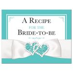 ​Tiffany Blue and White bridal shower or wedding shower recipe card with White Ribbon and Bow, Jewels, and Glitter.