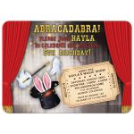 Magician magic themed kid's birthday invitation featuring magician's hat, gloves, wand, rabbit ears, red curtains, and stage