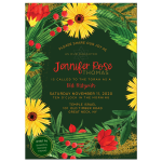 Bright Flowers Bat Mitzvah Invitation Card Set