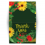 Colorful Flowers Bat Mitzvah Folded Thank You Card