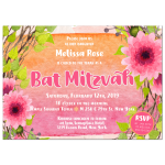 Pink Watercolor Flowers Bat Mitzvah Invitation Card