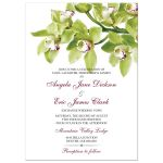 Burgundy and green cymbidium orchid wedding invitation front