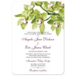 Burgundy and green cymbidium orchid wedding invitation front