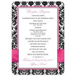 Fuchsia pink, black, and white damask pattern wedding menu and reception program with ribbon, bow, scroll, and jeweled joined hearts buckle brooch.