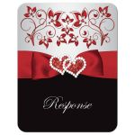 Black, red, and silver grey floral wedding RSVP response reply enclosure card with ribbon, glitter, jewels, hearts.