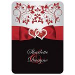 Best black, red, and silver floral wedding invitation with ribbon, glitter, jewels, hearts.