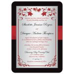 Best black, red, and silver floral wedding invites with ribbon, glitter, jewels, hearts.