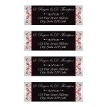 ​Black, silver, red floral address labels with ornate scroll for a modern wedding.