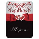 Black, red, and silver grey floral wedding RSVP response reply enclosure card insert with ribbon, glitter, jewels, hearts.