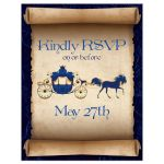 ​Fairy tale wedding RSVP reply response enclosure card in navy and royal blue with horse drawn carriage, scrolled paper, flourishes, and scrolls.