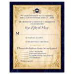 ​Fairytale wedding RSVP enclosure card in navy and royal blue with horse drawn carriage, scrolled paper, flourishes, and scrolls.