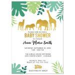 Gold Safari Animals Baby Shower Invitation