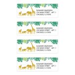 Gold Safari Animals Return Address Labels