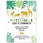 Gold Safari Jungle Animals Birthday Invitation