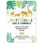 Gold Safari Jungle Animals Birthday Invitation