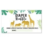 Gold Safari Animals Diaper Raffle Card