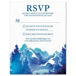 ​Royal blue and teal watercolor outdoor nature mountain Bar Mitzvah RSVP card