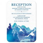 ​Royal blue and teal watercolor outdoor nature mountain Bar Mitzvah reception insert card