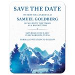 ​Royal blue and teal watercolor outdoor nature mountain Bar Mitzvah save the date announcement