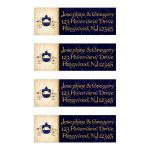 Royal carriage wedding address labels in navy or royal blue and gold with aged or old parchment paper look.