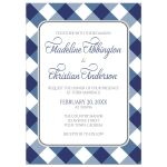 Wedding Invitations - Navy Blue Gingham White Gray