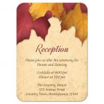Reception Cards - Rustic Burgundy Gold Autumn Leaves