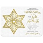 ​White lace and gold filigree Star of David Bat Mitzvah invitation front